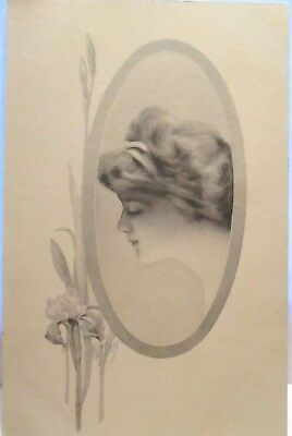 1910 Artist Signed Postcard Cameo Of Lovely Lady, Iris Flower