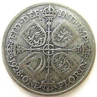 Great Britain Uk Coins, One Florin 1928, George V, Silver 0.500