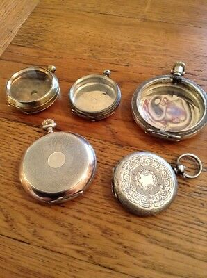 Antique / Vintage Pocket/Fob Watch Cases & Movements - Some Silver -SPARES ONLY.