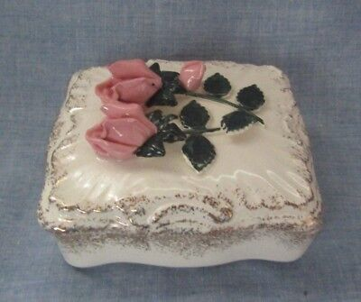 Lefton  Bone China Rectangle Trinket Box With Raised Pink Roses And Gold Trim