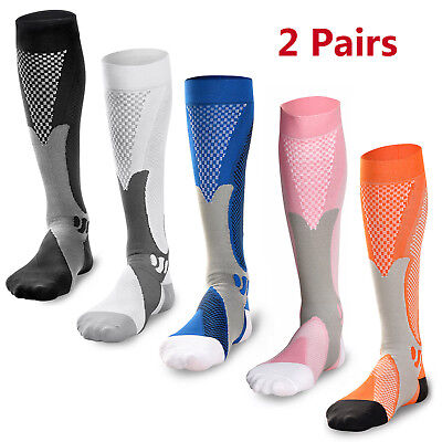 2 Pairs 30-40 mmhg Men Compression Over Knee High Socks Running Long Scokings US
