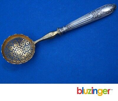 Vintage French Sterling Silver Pierced Serving Spoon