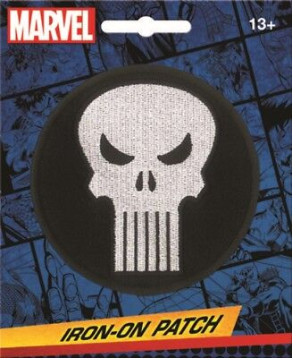 Marvel Comics The Punisher White Skull Logo Round Embroidered Patch NEW UNUSED
