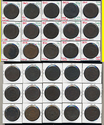Lot Of 30 Large Cents- Mixed Styles And Dates- No Reserve