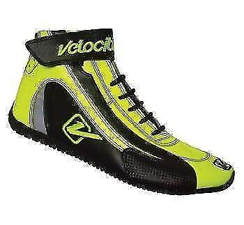Velocita Y11 Safety Driving Racing Shoes SFI Leather / Nomex Flo Yellow Size 11