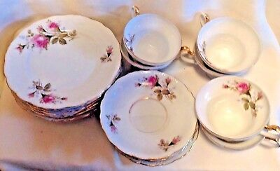 """Vintage """"Aladdin"""" Fine China Made In Occupied Japan """"Rose Pattern"""", 18 Pieces"""