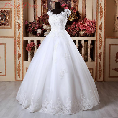 New White Ivory Lace Wedding Dress Cap Sleeves Applique Bridal Gown Size Custom