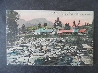 ca1910 Mountain Scene Near Las Vegas New Mexico Hand Color Fred Harvey Postcard