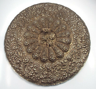 """Vtg Egypt 900 Silver Repousse Floral Design Ornate Extra Large Hand Mirror, 14"""""""