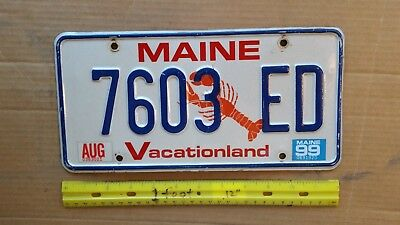 License Plate, Maine, Lobster, 1999, Motto: Vacationland, 7603 ED, Talk to Mr.Ed
