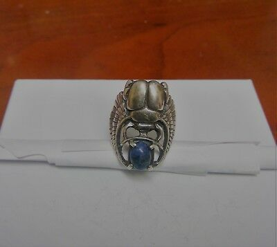 vintage 1940's sterling silver Egyptian scarab ring w/ blue saphire