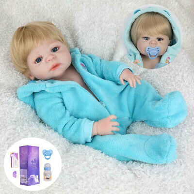 "22"" Reborn Baby Boy Doll Handmade Soft Full Vinyl Silicone Body Lifelike Newborn"