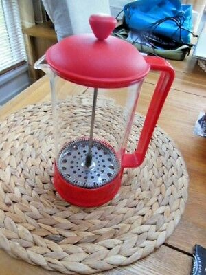 Bodum Red Cafetiere Glass And Plastic 6 Cup Coffee Maker French Press