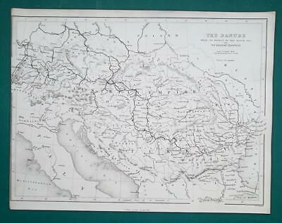 "1840 ANTIQUE MAP - Central Europe Danube Rive & Environs 8x10.5"" (20 x 27 cm)"
