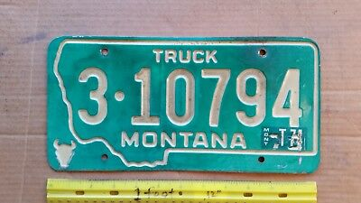 License Plate, Montana, 1973, 1974 sticker, Truck, 3 - 20794, Recessed Lettering