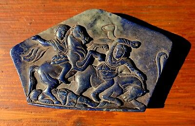 Very Rare Large Ancient Carving On A Lapis Lazuli Stone Slab Of A Roman Battle