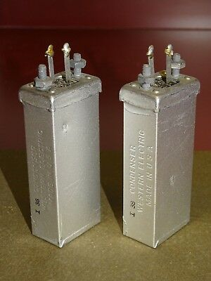 Pair, Western Electric 139QB Capacitors, 2.1 MFD, 1938, Good