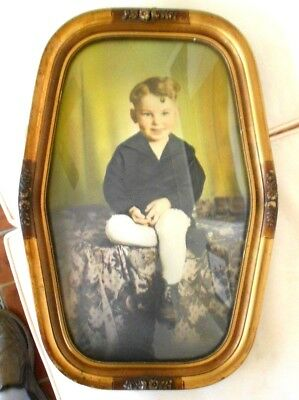 Vintage Wooden Picture Frame With Handpainted Photo Of Boy W/convex Glass