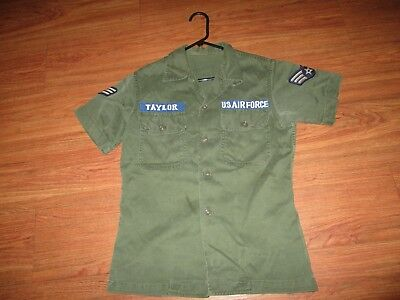 Us Air Force Utility Shirt Vietnam Made Name Tape Patch Uniform Theater Made