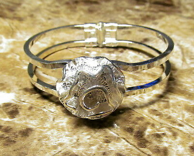 Beautiful Rose Flower Hinged Bangle Silver Plated Bracelet SILB9A