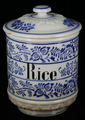 Antique Late 1800s German Porcelain Blue Onion Rice Jar Cobalt Flow Blue Jar