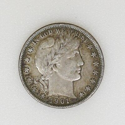 1901-P VF Condition Barber Silver Half Dollar Nice Strike & Color - I-14952 G