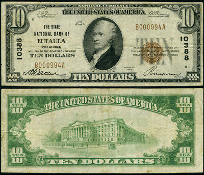 Eufaula OK $10 1929 T-1 National Bank Note Ch #10388 State NB Fine+