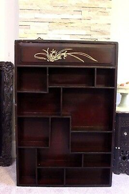 20th c Antique Chinese Japanese Lacquer Vase Curio Display Case Shelf Cabinet