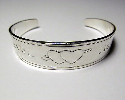 Beautiful Dual Hearts Silver Plated Cuff Bracelet SILB49