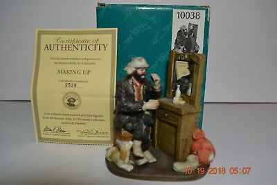 Flambro Emmett Kelly Jr Signed / Numbered Miniature MAKING UP  Figurine with Box