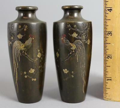 Antique Japanese Rooster Miniature Bronze Mixed Metals Gold Silver Inlaid Vases