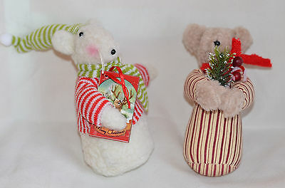 Set of 2 Fabric Mouse in Night Cap Christmas Tree Ornament new