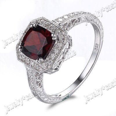 Vintage Antique Style 7X7MM Cushion Garnet Halo Diamonds Ring Sterling Silver