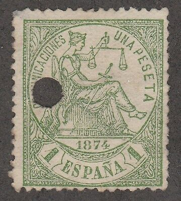 Kappysstamps 574 Spain Scott# 208 No Gum Telegraph Cancel  Catalog = $20