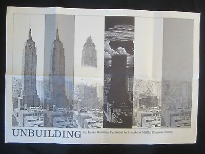 Vtg DAVID MACAULEY Drawing POSTER Empire State Building UNBUILDING Architectural