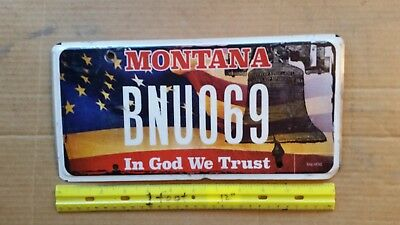 License Plate, Montana, In God We Trust, American Flag & Liberty Bell, BNU 0 69