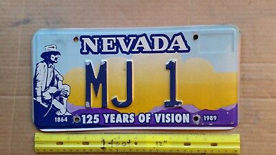License Plate, Nevada, 1864-1989, 125 Years of Vision, MJ 1, Prospector wpick