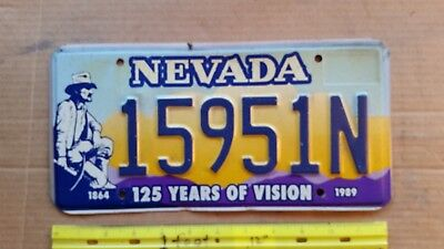 License Plate, Nevada, 1864-1989, 125 Years of Vision, 15951 N, Prospector wpick