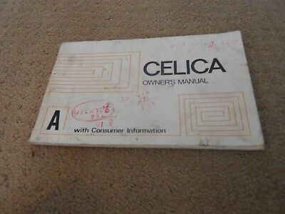 Toyota Celica Owners manual 1974