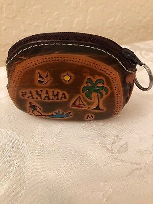 Hand Made Leather Change Purse From Panama Pre-Owned