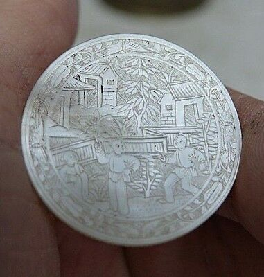 Chinese Mother Of Pearl Gaming Counter - Very Finely Engraved - Rare