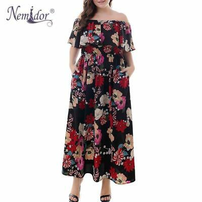 Nemidor Women Vintage Slash Neck Floral Print Casual Long Maxi Dress Sexy  Off Th 7e4e7a9756f2