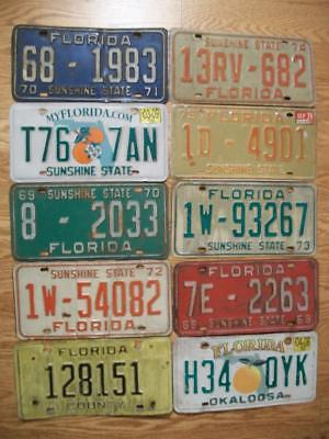 LOT of 10 FLORIDA LICENSE PLATES - 1969 - 2009 - 10 different types