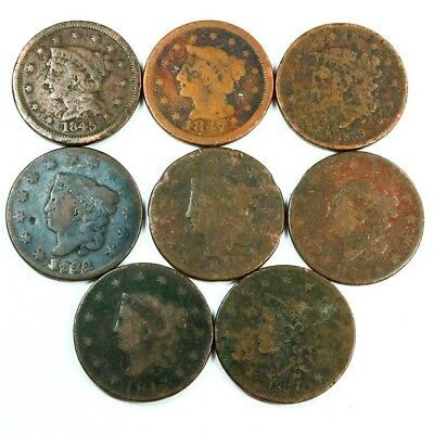 Group Lot of 8 Early U.S. Large Cents - Exact Lot Shown 3026