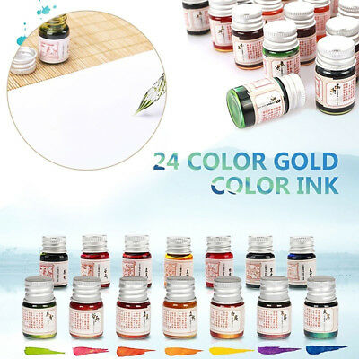 5Ml 24 Color Fountain Dip Pen Ink With Glitter Powder For Writing Painting Faddi