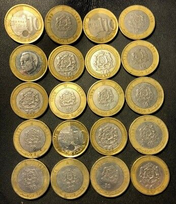 Old Morocco Coin Lot - 20 UNCOMMON Bi-Metal Coins - 10 Dirham - Lot #120