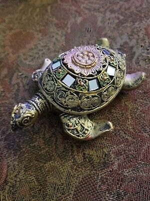 "GOLD TURTLE FIGURINE WITH MIRROR ACCENTS ""long time symbol of longevity"" Stunnin"