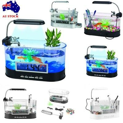 Small USB LCD Clock Aquarium Fish Tank LED Light Home Office Desktop Decoration