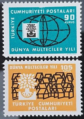 Turkey 1960 Sc # 1478 Sc # 1479 World Refugee Year MNH Mint Stamps Set