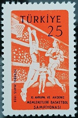 Turkey 1959 Sc # 1441 11th European and Mediterranean Basketball MNH Mint Stamp